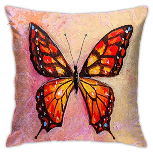 Butterfly in Modern Style Decorative Throw Pillow Cover Zippered Cushion Case for Home Sofa Bedroom Car Chair House Party Indoor Outdoor 18 X 18 Inch 45 X 45 cm