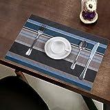 Pauwer Platzsets Set von 6 Gewebt Vinyl Rutschfest Waschbar Platzdeckchen Hitzebeständig Tischsets für Küche Speisetisch (Blau) - 7