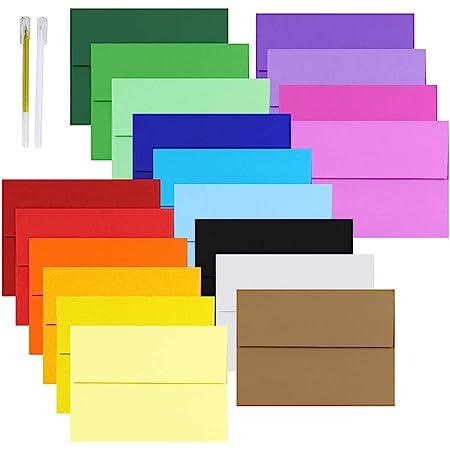 100 Invitation Letter Mailing Envelopes Gummed Closures Assorted Colors 7.25 x5