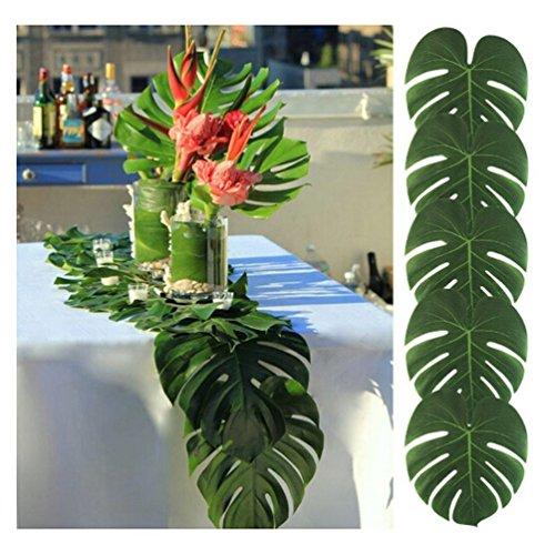 Albeey 12 Stück Tropische Blätter Geburtstag Deko künstliche tropische Palme Blätter Hawaiianische Luau Jungle Beach Theme Party Dekorationen, 20*18cm