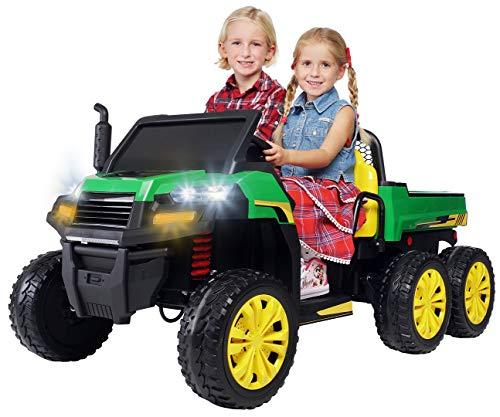Actionbikes Motors Kinder Elektroauto A730 UTV - 4 x 35 Watt Motor - 2 Sitzer - Eva Vollgummireifen - 2,4 Ghz Fernbedienung (Grün/Gelb)