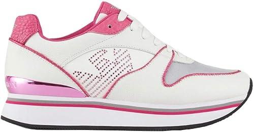 Emporio armani sneakers pelle con logo aquila in strass da donna