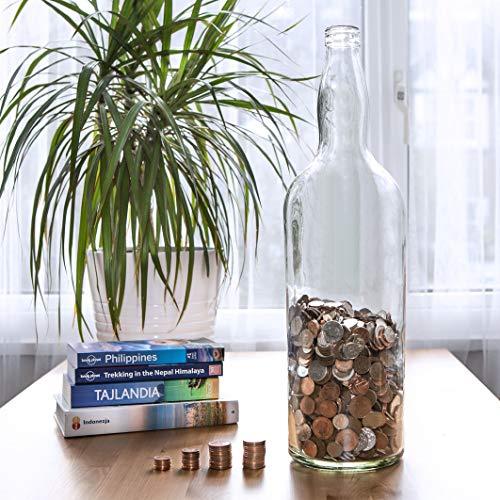 Velucio Glass Money Jar - Holds Over £2,500 In £1 Coins! (4.5L Glass Money Bottle)