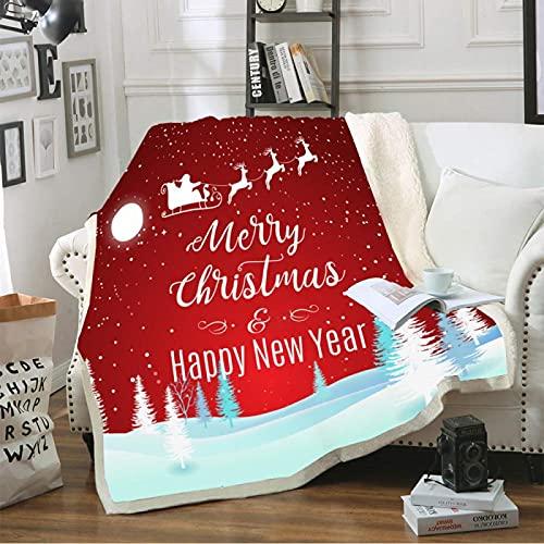 Manta Grande Y Esponjosa, Diseño De Impresión 3D Tema De Navidad Manta De Felpa, Upgrade Microfibra Suave Y Cálida Ropa De Cama para Adultos (180X200Cm)
