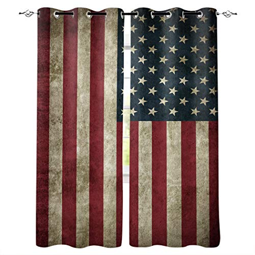 American Flag Window Curtain, Room Darkening Thermal Insulated Blackout Curtain Independence Day Vintage American Flag Grommet Curtains Window...