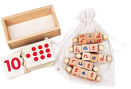 Kenley Reading Blocks & Numbers Puzzle - Montessori Materials Educational Toys for Toddlers 2 3 4 5 Years - ABC Alphabet Spelling Letter & Number Game - Learning Tools for Kindergarten Preschool Kids