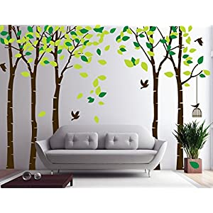 Amaonm 104″x71″ Giant Large Jungle 5 Trees Wall Decals Green Leaves and Fly Birds Wallpaper Wall Decor DIY Vinyl Wall Stickers for Kids Bedroom Living Room Nursery Rooms Offices Walls (Brown Tree)