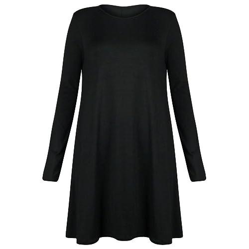 Women Ladies Long Sleeve Plain Jersey Flared Tea Skater Swing Dress Sizes 8- 26 ( c4735e0b8