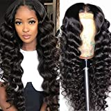Pizazz Hair Loose Deep Wave Lace Front Wigs Human Hair Pre Plucked For Black Women 150% Density Brazilian Virgin Human Hair Wigs with Baby Hair Wet and Wavy Lace Frontal Wigs (20Inch, Loose deep wig)
