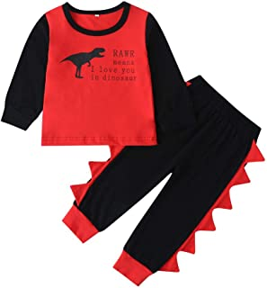 YESOT Toddler Clothes Set Kids Baby Boys Girls Cartoon Dinosaur Letter Print T Shirt Tops Pullover Pants Outfit