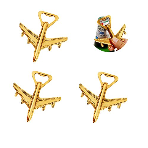 Yansanido Pack of 20 Airplane Bottle Opener Air Plane Travel Beer Bottle Opener Party Favor Wedding Birthday Decorations (Airplane style 1# Gold)