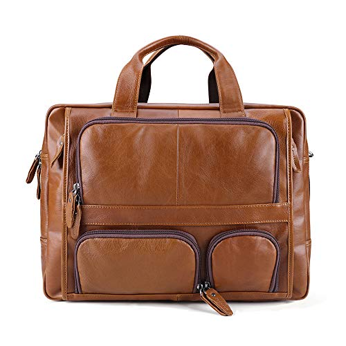 MX kingdom Leather Briefcase , Waterproof Computer Briefcase Notebook Vintage Satchel, Designer School Work Bags Brown 17 inch Laptop