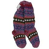 Funky invierno Makalu calcetines de lana tejidos a mano, color morado y rojo