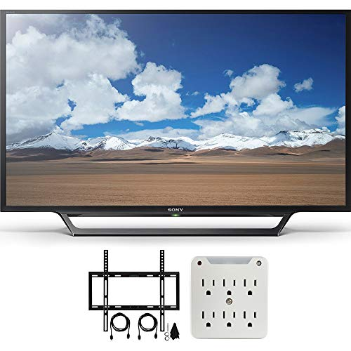 Sony KDL-32W600D 32-Inch Class HD TV with Built-in Wi-Fi Slim Flat Wall Mount Bundle Includes Television, Slim Flat Wall Mount Ultimate Kit and Power Strip with Dual USB Ports