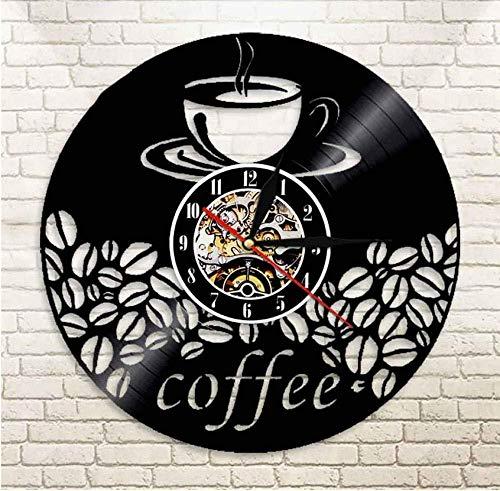 Liafa Kaffeebar Wohnkultur Kaffeebohne Wandkunst Heißes Getränk Dampf Kaffee Wanduhr Cafe Küche Schallplatte Dekorative Wanduhr