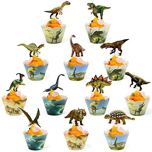 FabTab Dinosaurier Cupcake Topper und Wrapper Dinosaurier Dekorationen für Geburtstagsfeier 24 Stück Dino Cake Topper Dinosaurier Party Zubehör für Kinder