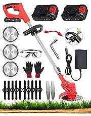 21V 2000MAH 充電式 草刈り機, 電動 コードレス 草刈機 (1.2Kg )長さ調整 二重安全スイッチ 低騒音 芝刈り機, 電動刈払い機 雑草を植えるための芝生や庭の刈り取りに適しています