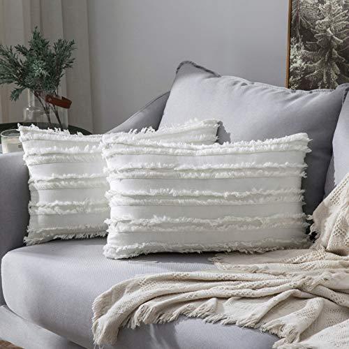 MIULEE 2er Set Dekorative Kissenbezug mit Tassel Fransen Dekokissen Boho Super Weich Kissenbezüge Quaste Decor Kissenhülle für Sofa Couch Schlafzimmer Wohnzimmer 12X20inch 30x50cm Weiß