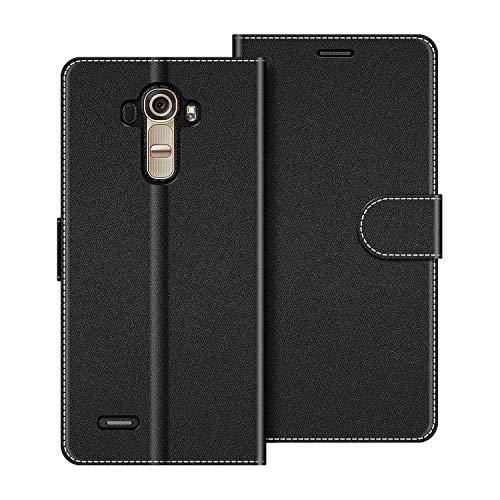 COODIO Handyhülle für LG G4 Handy Hülle, LG G4 Hülle Leder Handytasche für LG G4 Klapphülle Tasche, Schwarz
