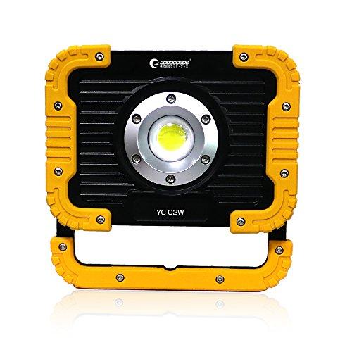 実用新案登録 グッドグッズ(GOODGOODS) COB LED 投光器 充電式 20W 2500lm ポータブル作業灯 折り畳み式 磁石とUSBポート付 防水 夜間作業 アウトドア YC-02W