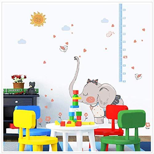 LWJZQT wandstickers Cartoon verlegen olifant hoogte Sticker vogel wolk Decor kleuterschool kinderen kamer baby meten hoogte liniaal muur Stickers