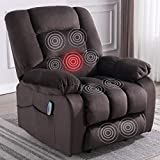 ANJ Massage Recliner Chair with Heat and Vibration, Soft Fabric Lounge Chair Overstuffed Sofa Home Theater Seating(Chocolate)