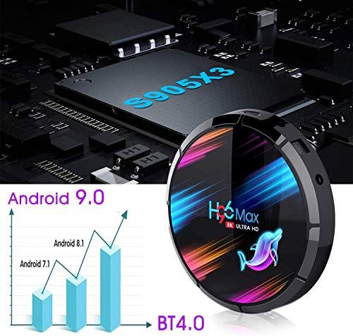 H96 MAX Android TV Box 9.0 ?4GB RAM+32GB ROM?Boitier Android TV S905X3 Quad-Core 64bit Cortex-A55 Bluetooth 4.1 LAN 1000M Dual-WiFi 2.4GHz/5GHz USB 3.0, Supporte 8K*4K 60Hz Full HD / 3D / H.265 TV Box