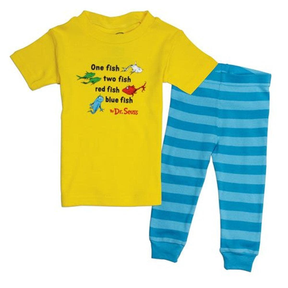 Bumkins Dr. Seuss 2 Piece Pajama Set, Yellow/Blue, 18 Months