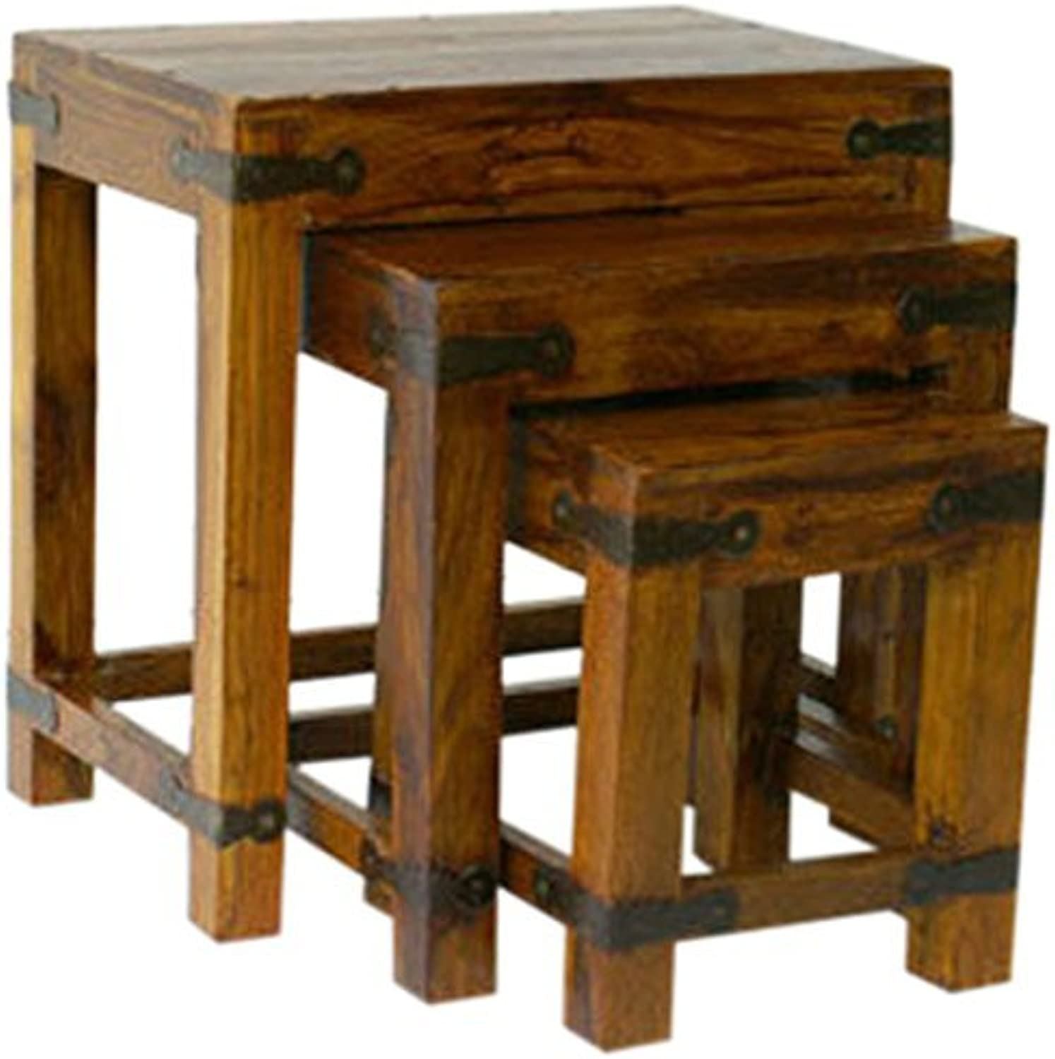 Mercers Furniture Indian Jali Refectory Nest of Tables - Indian pinkwood