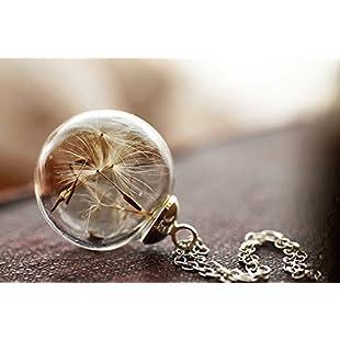 Wish Necklace Real Dandelion Dandelion Necklace , Real Dandelion Seed, Wish Necklace Nature Jewelery , Good Luck Charm, Bridesmaids Gift