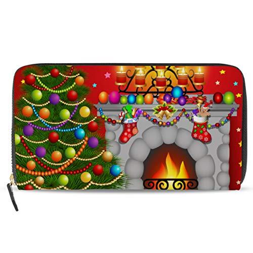 Ahomy Damen Geldbörse Leder Geldbörse Weihnachtsbaum Kamin Kerzen Frauen Clutch Lange Geldbörse mit Reißverschluss Tasche