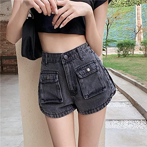 ShFhhwrl alla Moda Semplice e generosoPantaloncini da Donna in Denim Sexy da Spiaggia Retro Washed Cargo Jeans Women Casual Pocket High Wai