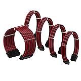 LINKUP - Cable con Manguito - Prolongación de Cable para Fuente de Alimentación con Kit de Alineadores┃1x 24P (20+4) MB┃2X 8P (4+4) CPU┃2X 8P (6+2) GPU┃30CM 300MM - Rojo Negro