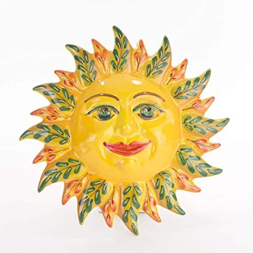 Ceramiche Azzaro & Romano Caltagirone Sole di Sicilia da Appendere diam. cm 21, Fatto a Mano Made in Italy (sole3)
