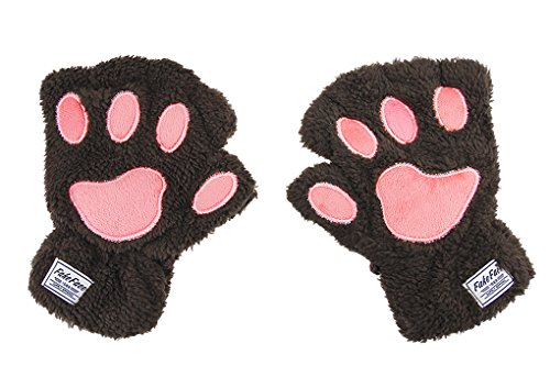 Damen Fingerlos Handschuhe Winter Katze Claw Bear Pfote Plüsch Fäustlinge Niedliche Cartoon Halbfinger Handschuhe Warme Fausthandschuh Outdoor Dicke Handwärmer