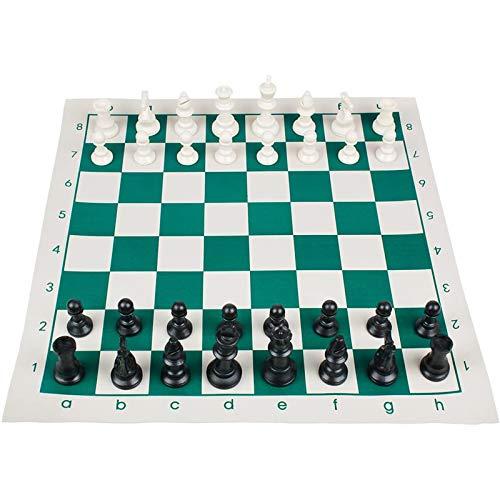 YQZ Juego de ajedrez de Viaje portátil, combinación Enrollable, Juego de ajedrez para Principiantes para niños y Adultos, con Cubo de Almacenamiento (43x43cm)