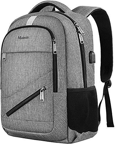 MATEIN PCバッグ バックパック 15.6インチパソコン対応 usbポート付き 男女兼用 グレー