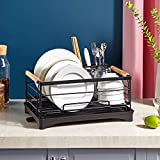 HengLiSam Kitchen Dish Drainer, Dish Rack Dish Drying Rack with Full-Mesh Storage Basket (black)