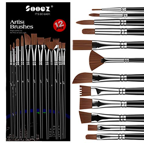 Sooez 12Pcs Professional Art Paint Brushes Set, 12 Different-Size Brush for Acrylic Oil Watercolor, 7 Shapes for Body Nail Face Painting, Arts Crafts Supplies for Beginners Artists Adult Kids