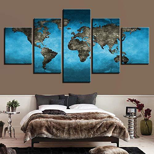 HD Leinwand Kunst Malerei für Wohnzimmer Wanddeko 5 Stück Atlantik Kontinent Weltkarte Großdruck Gemälde Poster Bild Vliesstoff mit Rahmen Pentas MU
