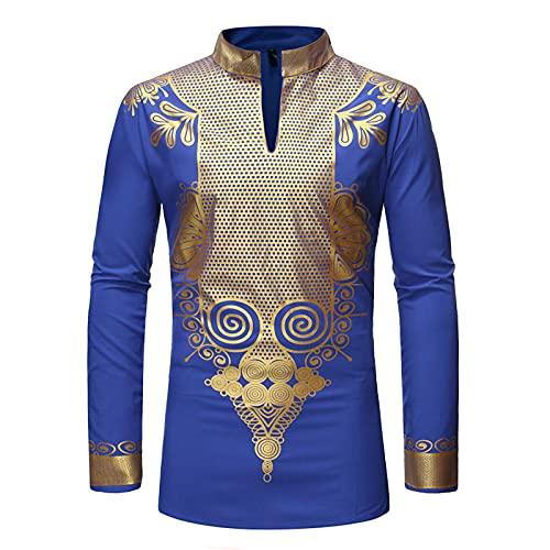 Blusa para hombre, túnica, india, kurta africana, pajama, tradicional, conjunto de ropa tradicional, sudadera, camisa, túnica, suéter, sudadera, suéter, suéter, suéter, suéter, suéter,, azul, XXL