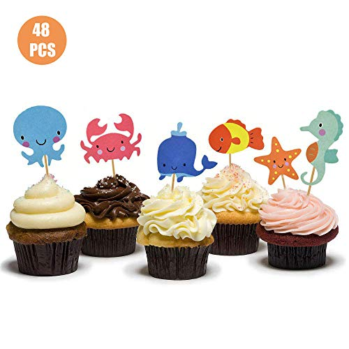 HOKPA Ocean Theme Cupcake Toppers Food Picks Dolphin Seahorse Starfish Fish for Ocean Nautical Theme Party Baby Shower Kids' Birthday Cake Supplies (48PCS)