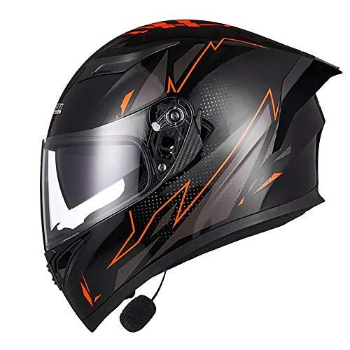 TKTTBD Bluetooth Klappbarer Motorrad-Motorradhelm Vorne Modulare Integralhelme Doppelte Sonnenblende Motorrad-Crashhelm Mit Offenem Gesicht Multifunktions-Klapphelm DOT/ECE-Zulassung A,XL