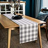 LONG WAY 100% Cotton Dining Table Runner-13 by 72 inches,Buffalo Check Table Runner Machine Washable Everyday Table Dcor (Grey)
