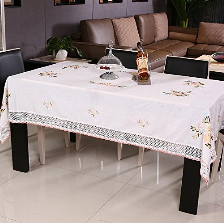 BlauLSS Vintage Stickerei Pastorale floraler Spitze Tischdecke für Hochzeit Antik aus reiner Baumwolle Tischdecke für Tisch TV Kühlschrank Mbel 130 x 175 cm
