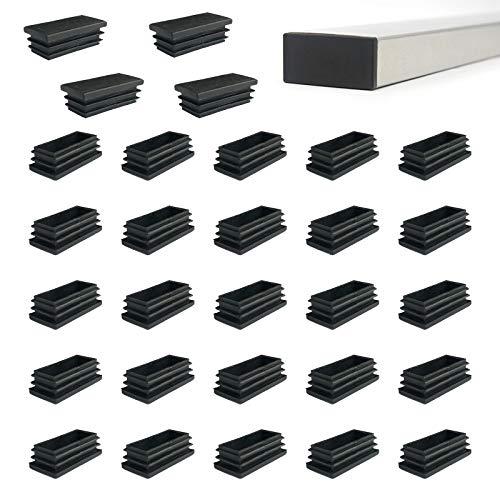 Zaky 24 tapones de láminas para tubos rectangulares de 40 x 15 mm, tapones para los pies, de plástico, color negro