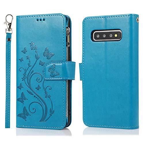 Miagon Reißverschluss Hülle für Samsung Galaxy S10,Magnet Schutzhülle Brieftasche Tasche Ständer Kartenfach Schmetterling Blume Prägung PU Leder Flip Geldbörse Cover,Blau