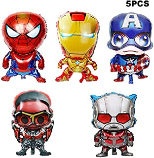 5pcs Superhero Balloons Birthday Party Decorations Supplies For Your Kids Theme Party, Baby Shower Birthday Pasrty