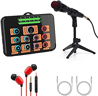 $59 » Voice Changer Live Sound Card Set, Karaoke Device Microphone with Sound Mixer for home party, Facebook, Youtube Live Strea...