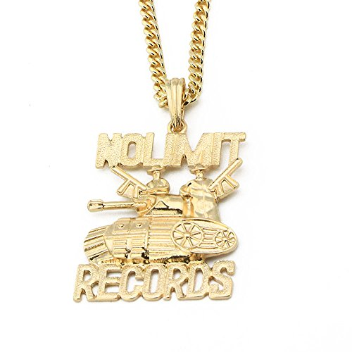 Raonhazae Iced Out No Limit Records Pendant w/ 24' Cuban Chain Necklace A1046PG